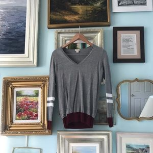 J. Crew grey, red, and white stripe sweater